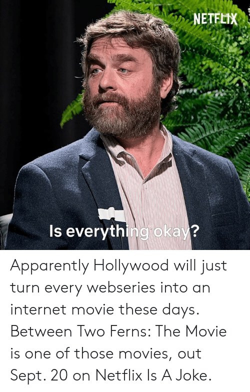 An Internet: NETFLIX  Is everything okay? Apparently Hollywood will just turn every webseries into an internet movie these days.  Between Two Ferns: The Movie is one of those movies, out Sept. 20 on Netflix Is A Joke.