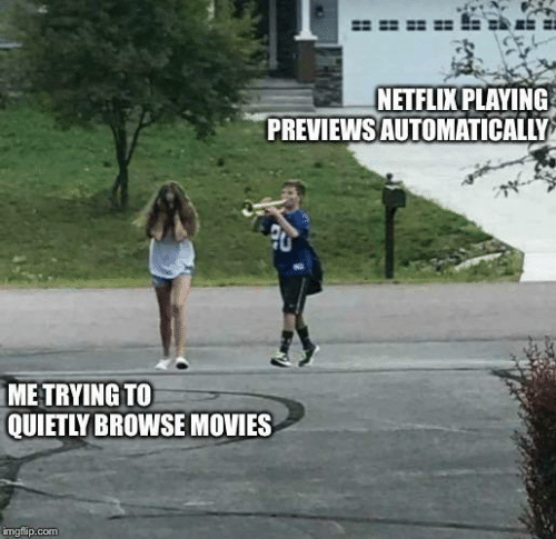 browse: NETFLIX PLAYING  PREVIEWS AUTOMATICALLY  ME TRYING TO  QUIETLY BROWSE MOVIES  imgflip.com