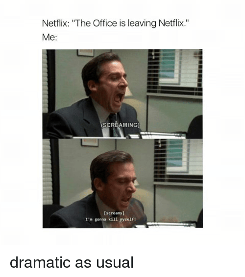 """Memes, Netflix, and The Office: Netflix: """"The Office is leaving Netflix.""""  Me:  SCREAMING)  [screams]  I'm gonna kill self! dramatic as usual"""