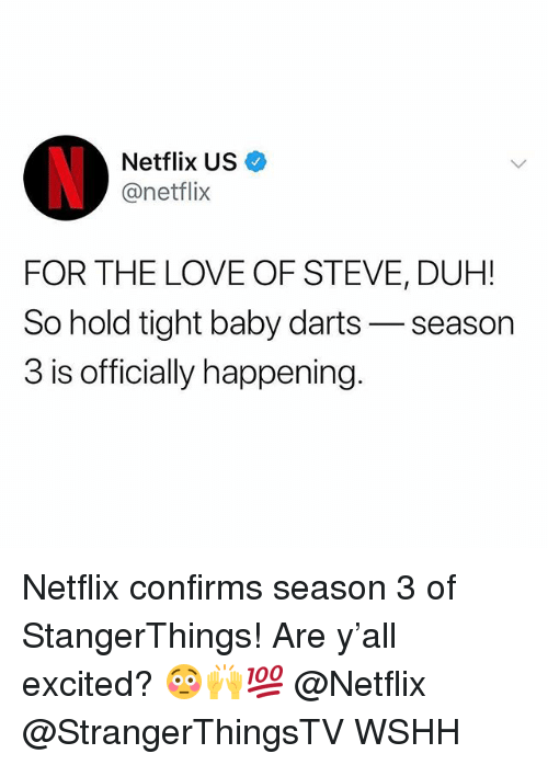 Love, Memes, and Netflix: Netflix US  @netflix  FOR THE LOVE OF STEVE, DUH!  So hold tight baby darts- season  3 is officially happening Netflix confirms season 3 of StangerThings! Are y'all excited? 😳🙌💯 @Netflix @StrangerThingsTV WSHH