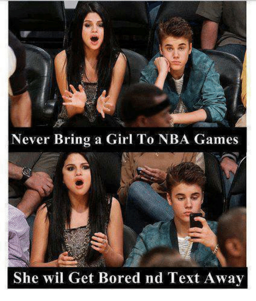 Bored, Funny, and Girls: Never Bring a Girl To NBA Games  She wil Get Bored nd Text Away