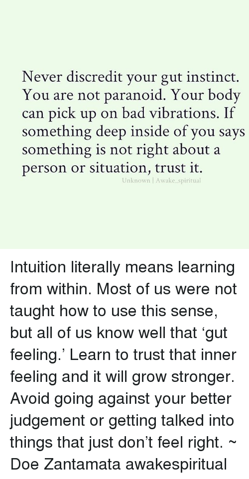 Bad, Doe, and Memes: Never discredit your gut instinct.  You are not paranoid. Your bodv  can pick up on bad vibrations. If  something deep inside of you says  something is not right about a  person or situation, trust it.  Unknown Awake spiritual Intuition literally means learning from within. Most of us were not taught how to use this sense, but all of us know well that 'gut feeling.' Learn to trust that inner feeling and it will grow stronger. Avoid going against your better judgement or getting talked into things that just don't feel right. ~ Doe Zantamata awakespiritual