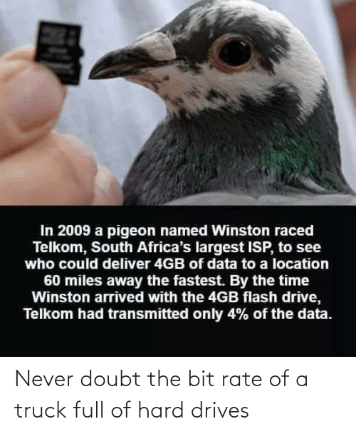 Doubt: Never doubt the bit rate of a truck full of hard drives
