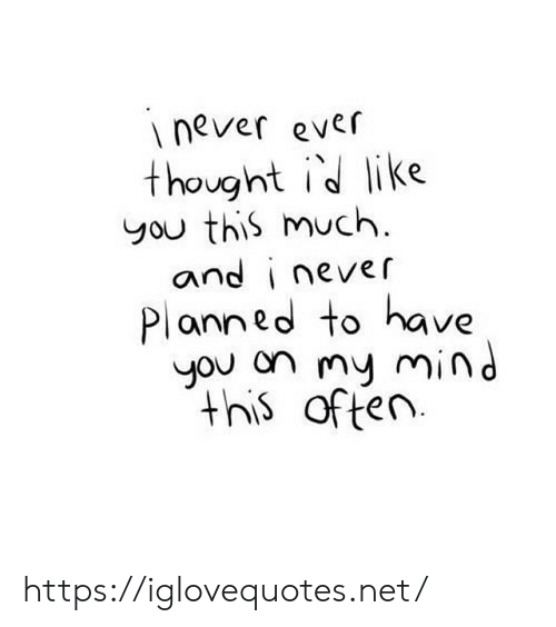 Never Ever: never ever  thought id like  you this much  and i never  Planned to have  you on my mind  this often https://iglovequotes.net/