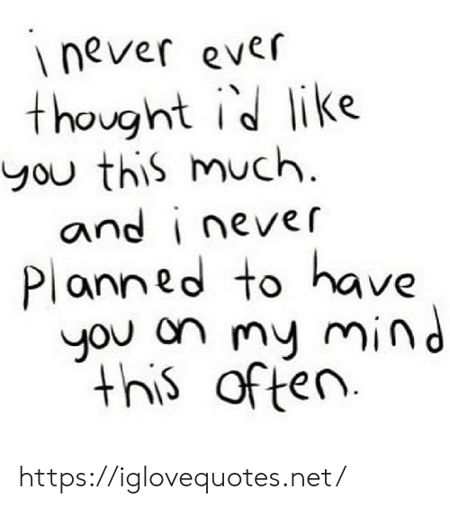 Never Ever: never ever  thought id like  you this much  and i never  Planned to have  you on my mind  this  of ten https://iglovequotes.net/