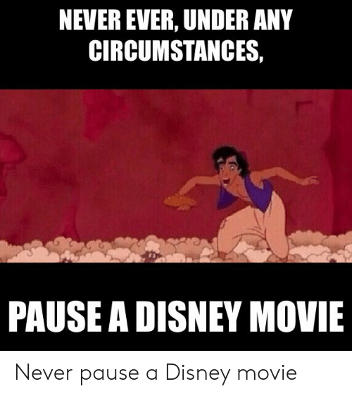 Never Pause A Disney Movie: NEVER EVER, UNDER ANY  CIRCUMSTANCES,  PAUSE A DISNEY MOVIE Never pause a Disney movie