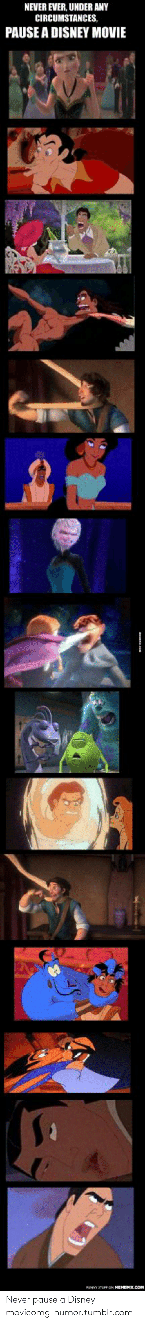 Disney, Omg, and Tumblr: NEVER EVER, UNDER ANY  CIRCUMSTANCES,  PAUSE A DISNEY MOVIE  PUNNY STUFF ON MEMEPIX.COM Never pause a Disney movieomg-humor.tumblr.com