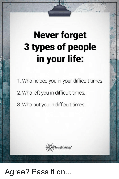 Memes and 🤖: Never forget  3 types of people  in your life:  1. Who helped you in your difficult times  2. Who left you in difficult times.  3. Who put you in difficult times. Agree? Pass it on...