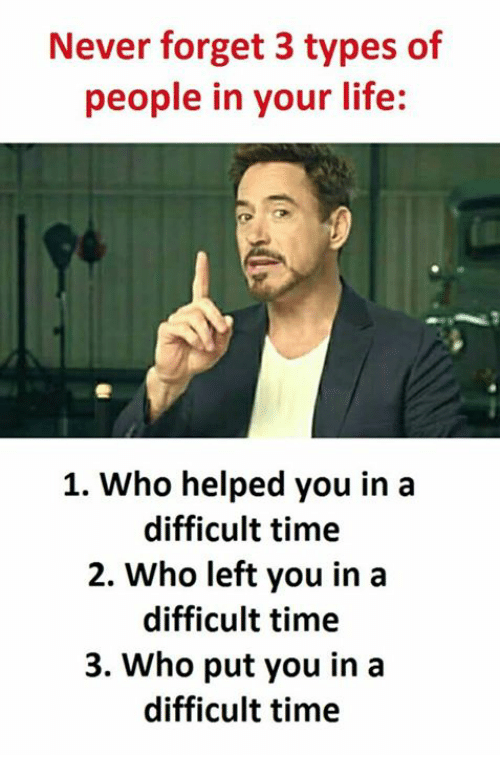 Never Forget,  Left, and  Your Life: Never forget 3 types of  people in your life:  1. Who helped you in a  difficult time  2. Who left you in a  difficult time  3. Who put you in a  difficult time