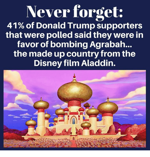 Agrabah: Never forget:  41% of Donald Trump supporters  that were polled said they were in  favor of bombing Agrabah...  the made up country from the  Disney film Aladdin.