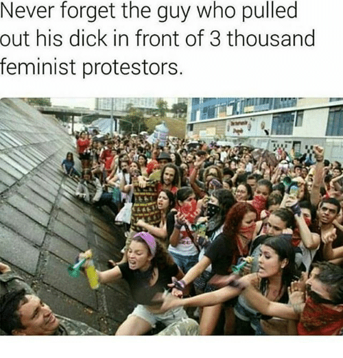 Memes, Dick, and Never: Never forget the guy who pulled  his dick in front of 3 thousand  feminist protestors.  out