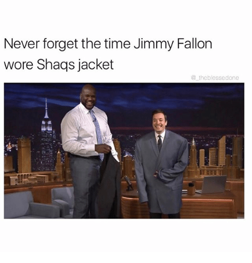 Funny, Jimmy Fallon, and Meme: Never forget the time Jimmy Fallon  wore Shags jacket  the blessedone
