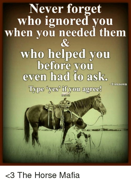Horses, Memes, and Horse: Never forget  who ignored you  when you needed them  who helped you  before you  even had to ask.  Unknown  Type yes if you agree! <3 The Horse Mafia