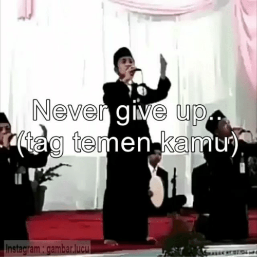 Indonesian (Language),  Give Up, and  Never Give Up: Never give up  tag temen kan  Instagram: gamb