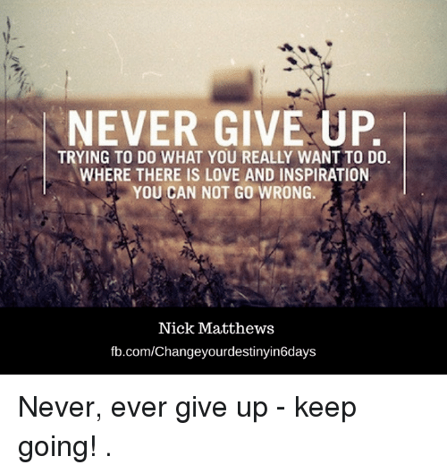 Love, Memes, and Ups: NEVER GIVE UP  TRYING TO DO WHAT YOU REALLY WANT TO DO.  WHERE THERE IS LOVE AND INSPIRATION  YOU CAN NOT GO WRONG.  Nick Matthews  fb.com/Changeyourdestinyin6days Never, ever give up - keep going!  .