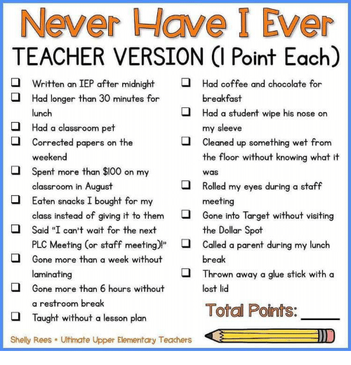 """Staff Meeting: Never Have I Ever  TEACHER VERSION (I Point Each)  Written an IEP after midnight  Had coffee and chocolate for  Had longer than 30 minutes for  breakfast  Had a student wipe his nose on  lunch  my sleeve  Cleaned up something wet from  the floor without knowing what it  Had a classroom pet  Corrected papers on the  weekend  Spent more than $100 on my  classroom in August  Eaten snacks I bought for my  was  Rolled my eyes during a staff  meeting  Gone into Target without visiting  the Dollar Spot  class instead of giving it to them  Said """"I can't wait for the next  PLC Meeting (or staff meeting)""""  Called a parent during my lunch  Gone more than a week without  break  laminating  Thrown away a glue stick with a  Gone more than 6 hours without  lost lid  a restroom break  Total Points:  Taught without a lesson plan  D  Shelly Rees  Ultimate Upper Elementary Teachers"""
