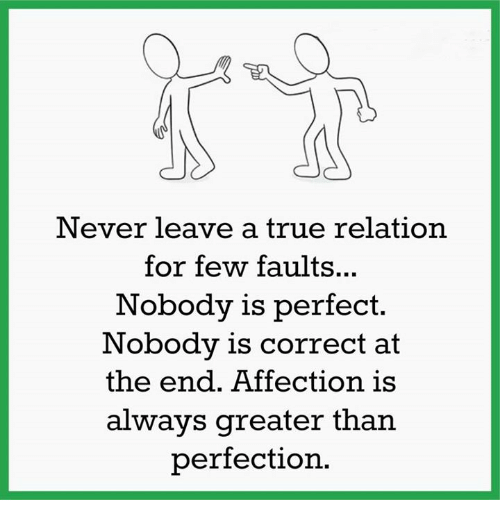 Memes, Affect, and Relatable: Never leave a true relation  for few faults...  Nobody is perfect.  Nobody is correct at  the end. Affection is  always greater than  perfection.