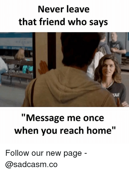 "Memes, Home, and Kale: Never leave  that friend who says  KALE  ""Message me once  when you reach home"" Follow our new page - @sadcasm.co"