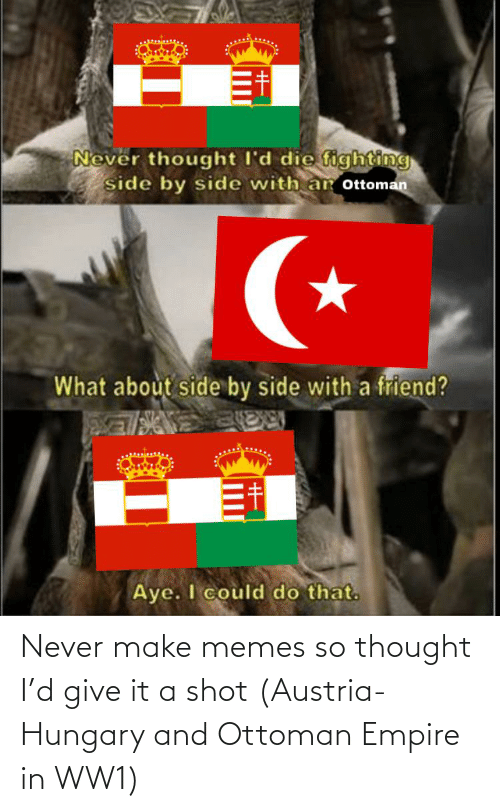 ww1: Never make memes so thought I'd give it a shot (Austria-Hungary and Ottoman Empire in WW1)