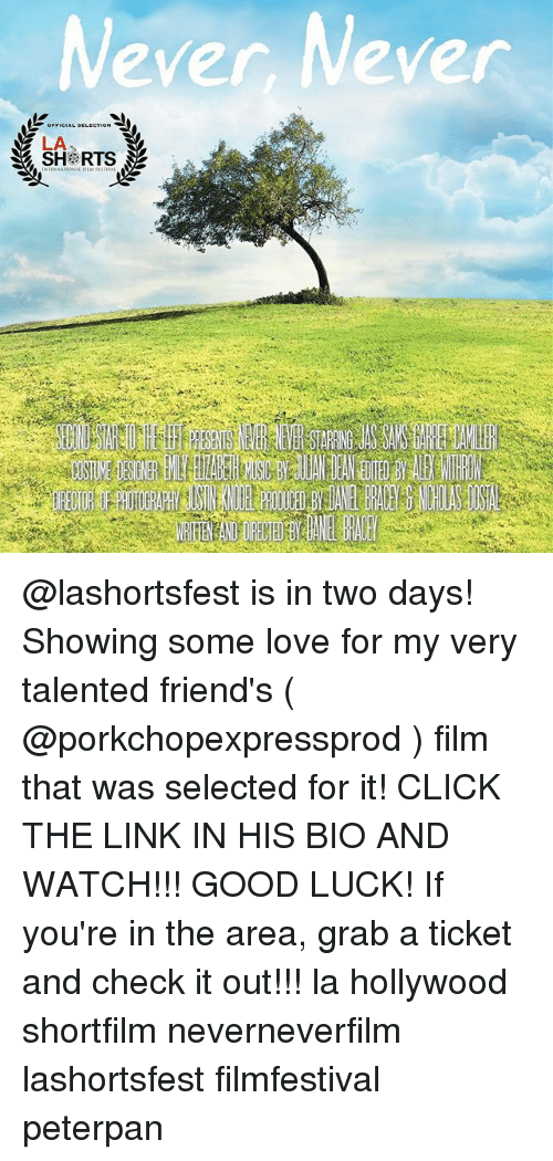 peterpan: Never, Never  LA  SH RTS @lashortsfest is in two days! Showing some love for my very talented friend's ( @porkchopexpressprod ) film that was selected for it! CLICK THE LINK IN HIS BIO AND WATCH!!! GOOD LUCK! If you're in the area, grab a ticket and check it out!!! la hollywood shortfilm neverneverfilm lashortsfest filmfestival peterpan