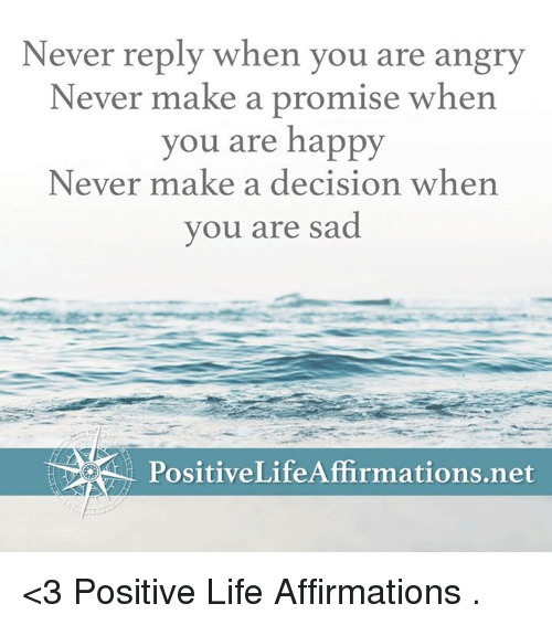memes: Never reply when you are angry  Never make a promise when  you are happy  Never make a decision when  you are sad  PositiveLife Affirmmations.net <3 Positive Life Affirmations  .
