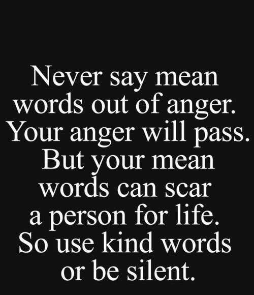 Kind Words: Never say mear  words out of anger.  Your anger will pass.  But your mean  words can Scar  a person for life.  So use kind words  or be silent.