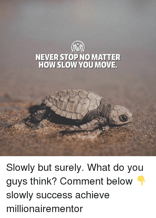 Memes, Never, and Success: NEVER STOPNO MATTER  HOW SLOW YOU MOVE Slowly but surely. What do you guys think? Comment below 👇 slowly success achieve millionairementor