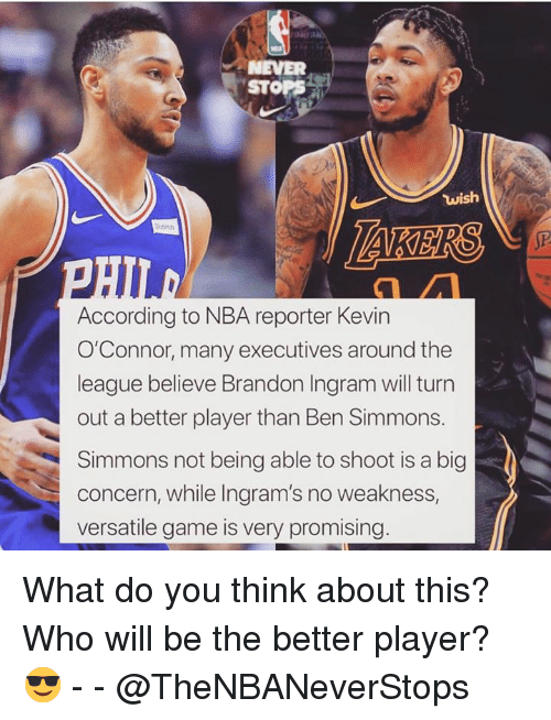 Nba, Game, and The League: NEVER  STOPS  wish  According to NBA reporter Kevin  O'Connor, many executives around the  league believe Brandon Ingram will turn  out a better player than Ben Simmons.  Simmons not being able to shoot is a big  concern, while Ingram's no weakness,  versatile game is very promising What do you think about this? Who will be the better player? 😎 - - @TheNBANeverStops
