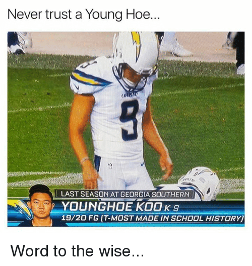 Hoe, Nfl, and School: Never trust a Young Hoe  LAST SEASON AT GEORGIA SOUTHERN  YOUNGHOE KOOK 9  19/20 FG (T-MOST MADE IN SCHOOL HISTORY Word to the wise...