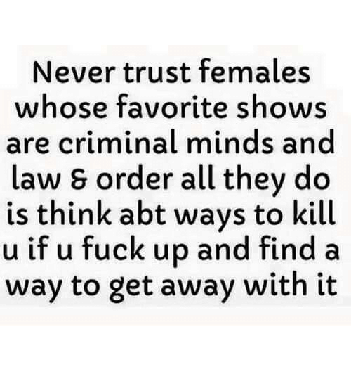 Relationships, Criminal Minds, and Law: Never trust females  whose favorite shows  are criminal minds and  law s order all they do  is think abt ways to kill  u if u fuck up and find a  way to get away with it