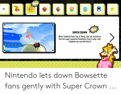 Peachette: New  00  New  SUPER CROWN  When Toadette finds one of these, she can transform  into the super-powered Peachette. (Sorry Luigi-only  Toadette can use this item!) Nintendo lets down Bowsette fans gently with Super Crown ...