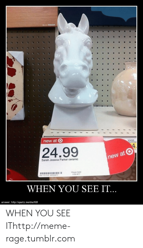 meme: new at O  ASE  24.99  new at  Sarah Jessica Parker ceramic  Prices Vaiod  /22 31  40535487  WHEN YOU SEE IT.  answer: http://spartz.me/dia/lSB WHEN YOU SEE IThttp://meme-rage.tumblr.com
