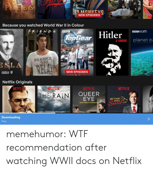 sla: NEW EPISODES  Because you watched World War Il in Colour  BBCearth  Too Gear  er  planete  FRANKIE  SA  SLA  AM RICAN  EXPERIENCES  NEW EPISODES  Netflix Originals  NETFL  NETFLIX  NETFLIX  QUEER  EYE  NETFLIX  THE, RAIN  BETTER  CALL  more than a makeover  Downloading  Fury memehumor:  WTF recommendation after watching WWII docs on Netflix