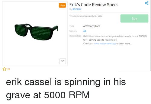 New Erik's Code Review Specs by ROBLOX This Item Is Not ...