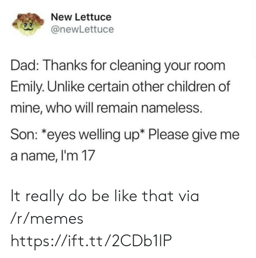 Cleaning Your Room: New Lettuce  anewLettuce  Dad: Thanks for cleaning your room  Emily. Unlike certain other children of  mine, who will remain nameless.  Son: *eyes welling up* Please give me  a name, l'm 17 It really do be like that via /r/memes https://ift.tt/2CDb1lP