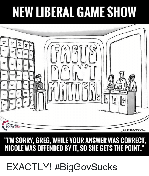"""game shows: NEW LIBERAL GAME SHOW  DONT  POINT  Jo EDA TOR  """"ITM SORRY, GREG, WHILE YOUR ANSWER WAS CORRECT,  NICOLEWAS OFFENDED BY IT SO SHE GETS THE POINT."""" EXACTLY! #BigGovSucks"""