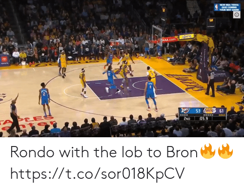 Toyota: NEW NEA TRIVIA  QUIZ COMING  YOUR WAY SOON!  LAKEES  AAA.com  TOYOTA  T2ECHANGA  OK 53 ERS 61  TA CES  2ND  05.9  SHANCANC01 Rondo with the lob to Bron🔥🔥 https://t.co/sor018KpCV