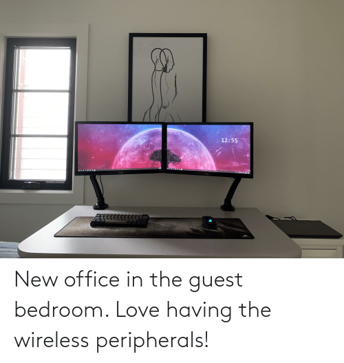 Guest: New office in the guest bedroom. Love having the wireless peripherals!