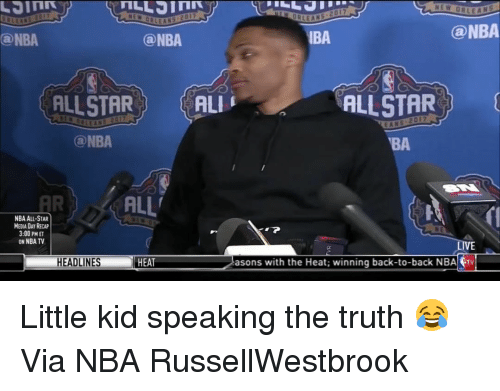 Ali, All Star, and Back to Back: NEW OR LE AL  @NBA  IBA  Can NBA  (a NBA  ALLSTAR  ALLSTAR  ALI  2017  EANS  NBA  BA  ALL'  NBA ALL-STAR  MEDIA DAY RECAP  3:00 PM ET  ON NBATV  asons with the Heat: winning back-to-back NBA trv  HEADLINES  HEAT Little kid speaking the truth 😂 Via NBA RussellWestbrook