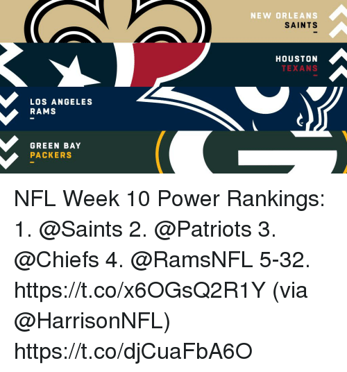 Los Angeles Rams: NEW ORLEANS  SAINTS  HOUSTON  TEXANS  LOS ANGELES  RAMS  GREEN BAY  PACKERS NFL Week 10 Power Rankings:  1.  @Saints  2.  @Patriots  3.  @Chiefs  4. @RamsNFL 5-32. https://t.co/x6OGsQ2R1Y (via @HarrisonNFL) https://t.co/djCuaFbA6O