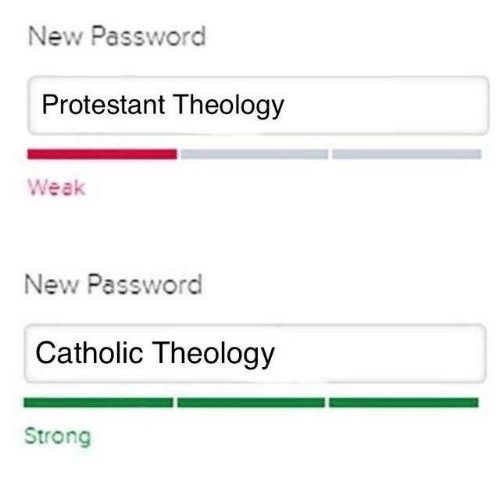Theology: New Password  Protestant Theology  Weak  New Password  Catholic Theology  Strong