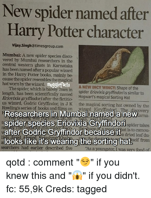Harry Potter Book Lengths : New spider named after harry potter character vijay singh