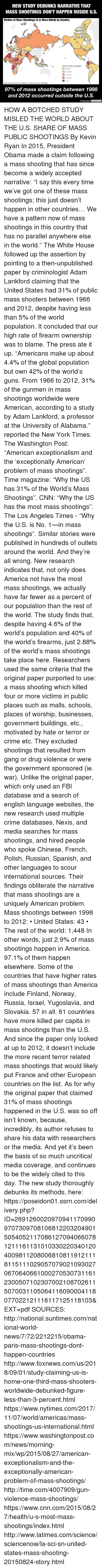 "America, cnn.com, and Crime: NEW STUDY DEBUNKS NARRATIVE THAT  MASS SHOOTINGS DON'T HAPPEN OUSIDE U.S.  Victims of Mass Shootings (4 or More Killed) by Country  Victims/100k population  0.06  0.06  >=0.15  0.33  >=1  Gray areas had no incidents or data was not available  97% of mass shootings between 1998  and 2012 occurred outside the U.S.  Unbiased America HOW A BOTCHED STUDY MISLED THE WORLD ABOUT THE U.S. SHARE OF MASS PUBLIC SHOOTINGS By Kevin Ryan  In 2015, President Obama made a claim following a mass shooting that has since become a widely accepted narrative:  ""I say this every time we've got one of these mass shootings; this just doesn't happen in other countries… We have a pattern now of mass shootings in this country that has no parallel anywhere else in the world.""  The White House followed up the assertion by pointing to a then-unpublished paper by criminologist Adam Lankford claiming that the United States had 31% of public mass shooters between 1966 and 2012, despite having less than 5% of the world population.  It concluded that our high rate of firearm ownership was to blame.  The press ate it up.  ""Americans make up about 4.4% of the global population but own 42% of the world's guns. From 1966 to 2012, 31% of the gunmen in mass shootings worldwide were American, according to a study by Adam Lankford, a professor at the University of Alabama."" reported the New York Times.  The Washington Post: ""American exceptionalism and the 'exceptionally American' problem of mass shootings"".  Time magazine: ""Why the US has 31% of the World's Mass Shootings"".  CNN: ""Why the US has the most mass shootings"".  The Los Angeles Times - ""Why the U.S. is No. 1—in mass shootings"".  Similar stories were published in hundreds of outlets around the world.  And they're all wrong.  New research indicates that, not only does America not have the most mass shootings, we actually have far fewer as a percent of our population than the rest of the world.  The study finds that, despite having 4.6% of the world's population and 40% of the world's firearms, just 2.88% of the world's mass shootings take place here.  Researchers used the same criteria that the original paper purported to use: a mass shooting which killed four or more victims in public places such as malls, schools, places of worship, businesses, government buildings, etc., motivated by hate or terror or crime etc.  They excluded shootings that resulted from gang or drug violence or were the government sponsored (ie. war).  Unlike the original paper, which only used an FBI database and a search of english language websites, the new research used multiple crime databases, Nexis, and media searches for mass shootings, and hired people who spoke Chinese, French, Polish, Russian, Spanish, and other languages to scour international sources.  Their findings obliterate the narrative that mass shootings are a uniquely American problem.    Mass shootings between 1998 to 2012: • United States: 43 • The rest of the world: 1,448  In other words, just 2.9% of mass shootings happen in America.  97.1% of them happen elsewhere.  Some of the countries that have higher rates of mass shootings than America include Finland, Norway, Russia, Israel, Yugoslavia, and Slovakia.  57 in all.  61 countries have more killed per capita in mass shootings than the U.S.  And since the paper only looked at up to 2012, it doesn't include the more recent terror related mass shootings that would likely put France and other European countries on the list.  As for why the original paper that claimed 31% of mass shootings happened in the U.S. was so off isn't known, because, incredibly, its author refuses to share his data with researchers or the media.  And yet it's been the basis of so much uncritical media coverage, and continues to be the widely cited to this day.  The new study thoroughly debunks its methods, here: https://poseidon01.ssrn.com/delivery.php?ID=269126002097094117099097073097081068122032049015054052117086127094066078121116113101033022034012040098112080068108119121118115111029057079021093027067064066100027053073116123005071023070021087026115070031105064116090004118077022121116117125118103&EXT=pdf   SOURCES: http://national.suntimes.com/national-world-news/7/72/2212215/obama-paris-mass-shootings-dont-happen-countries http://www.foxnews.com/us/2018/09/01/study-claiming-us-is-home-one-third-mass-shooters-worldwide-debunked-figure-less-than-3-percent.html https://www.nytimes.com/2017/11/07/world/americas/mass-shootings-us-international.html https://www.washingtonpost.com/news/morning-mix/wp/2015/08/27/american-exceptionalism-and-the-exceptionally-american-problem-of-mass-shootings/ http://time.com/4007909/gun-violence-mass-shootings/ https://www.cnn.com/2015/08/27/health/u-s-most-mass-shootings/index.html http://www.latimes.com/science/sciencenow/la-sci-sn-united-states-mass-shooting-20150824-story.html"