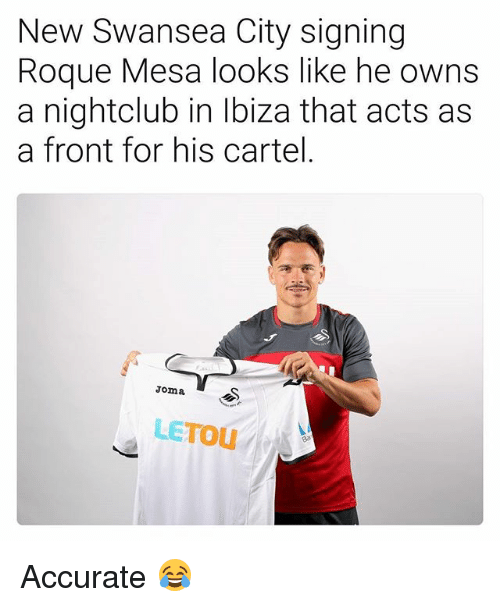 Cartelling: New Swansea City signing  Roque Mesa looks like he owns  a nightclub in Ibiza that acts as  a front for his cartel.  Joma S  LETOU Accurate 😂