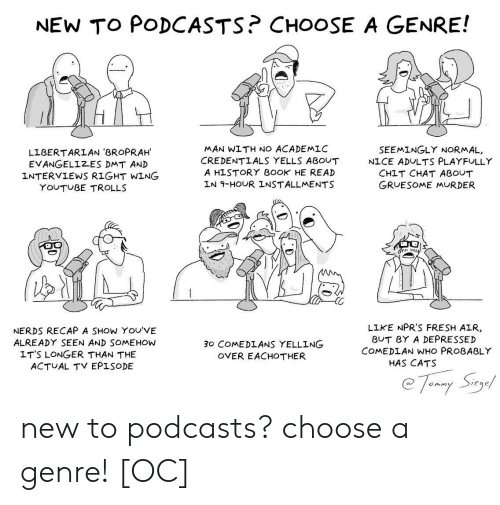trolls: NEW TO PODCASTS? CHOOSE A GENRE!  MAN WITH NO ACADEMLC  CREDENTLALS YELLS ABOUT  A HISTORY B0OK HE READ  LN 9-HOUR INSTALLMENTS  SEEMINGLY NORMAL,  LIBERTARLAN 'BROPRAH  EVANGELIZES DMT AN)D  INTERVIEWS RIGHT WING  NICE ADULTS PLAYFULLY  CHIT CHAT ABOUT  GRUESOME MURDER  YOUTUBE TROLLS  NERDS RECAP A SHOW YOU'VE  ALREADY SEEN AND SOMEHOW  LIKE NPR'S FRESH AIR  BUT BY A DEPRESSED  COMEDLAN WHO PROBABLY  30 COMEDLANS YELLING  OVER EACHOTHER  LT'S LONGER THAN THE  ACTUAL TV EPISODE  HAS CATS  eqe new to podcasts? choose a genre! [OC]