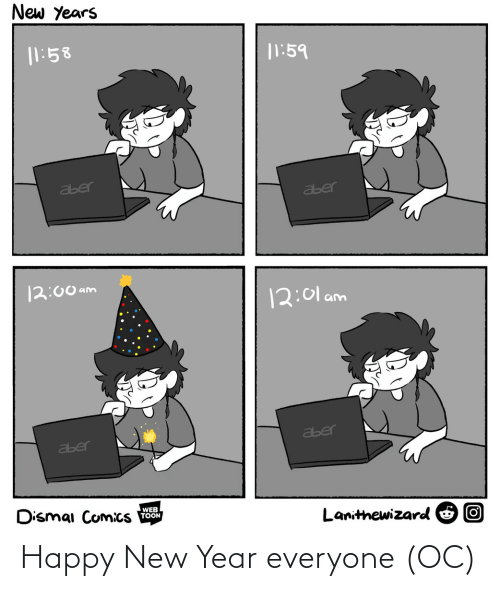 happy new year: New Years  |1:58  |1:59  aber  aber  12:00 am  12:01 am  aber  aber  Dismai Comics  WEB  TOON  Lanithewizard O O Happy New Year everyone (OC)