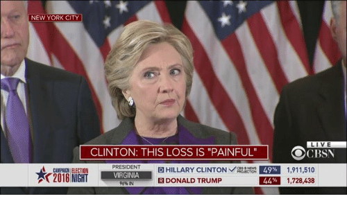 "Dank, Donald Trump, and Hillary Clinton: NEW YORK CITY  LIVE  CLINTON: THIS LOSS IS ""PAINFUL""  OCR  PRESIDENT  D HILLARY CLINTON  CBS NEWS  49% 1,911,510  CAMPAIGN ELECTION  VIRGINIA  1,728,438  44%  R DONALD TRUMP  96%IN"
