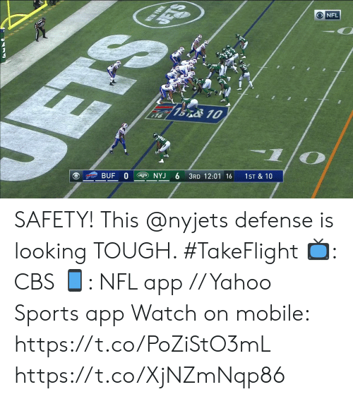 ets: NEW YORK  DETS  NFL  ETS  7BnO 10  16  BUF 0  NYJ  3RD 12:01 16  1ST & 10 SAFETY! This @nyjets defense is looking TOUGH. #TakeFlight  📺: CBS 📱: NFL app // Yahoo Sports app  Watch on mobile: https://t.co/PoZiStO3mL https://t.co/XjNZmNqp86