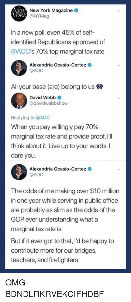 david webb: New York Magazine  @NYMag  In a new poll, even 45% of self-  identified Republicans approved of  @AOC's 70% top marginal tax rate  Alexandria Ocasio-Cortez  @AOC  All your base (are) belong to us  David Webb  @davidwebbshow  Replying to @AOC  When you pay willingly pay 70%  marginal tax rate and provide proof, 'lI  think about it. Live up to your words. I  dare you  Alexandria Ocasio-Cortez  AOC  The odds of me making over $1O million  in one year while serving in public office  are probably as slim as the odds of the  GOP ever understanding whata  marginal tax rate is  But if it ever got to that, l'd be happy to  contribute more for our bridges,  teachers, and firefighters OMG BDNDLRKRVEKCIFHDBF