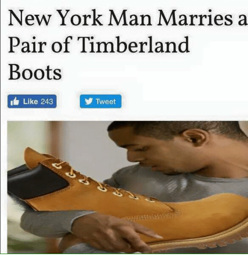 new york man marries a pair of timberland boots like 4629540 timberland baby meme carriep photo